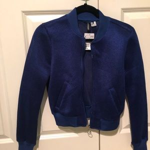 Jackets & Blazers - Divided H&M Mesh Bomber Jacket in Royal Blue